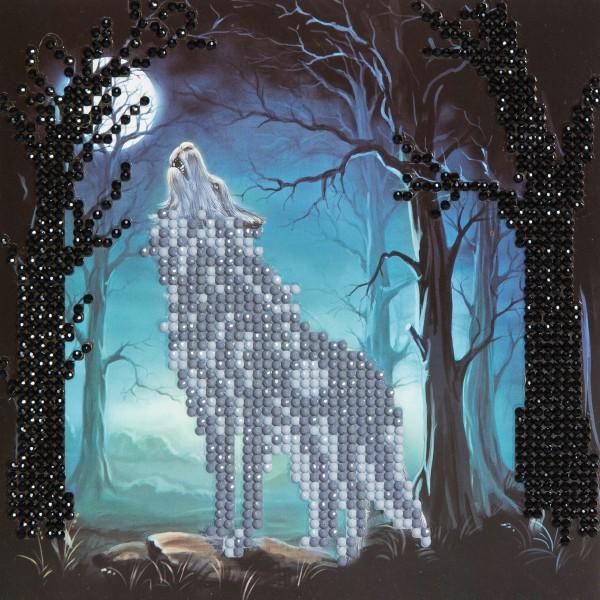 Kit Crystal Art - Carte broderie diamant - Loup - 18 x 18 cm - Photo n°1