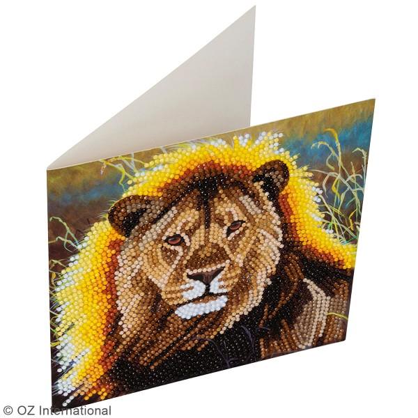 Kit Crystal Art - Carte broderie diamant - Lion - 18 x 18 cm - Photo n°2