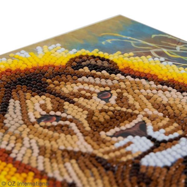 Kit Crystal Art - Carte broderie diamant - Lion - 18 x 18 cm - Photo n°3