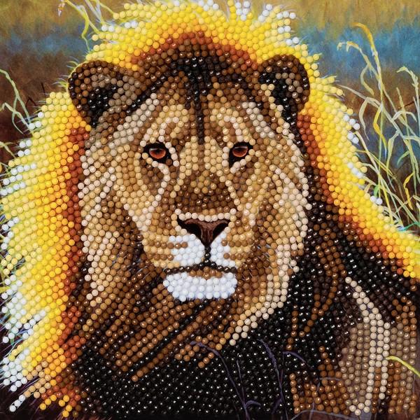 Kit Crystal Art - Carte broderie diamant - Lion - 18 x 18 cm - Photo n°1