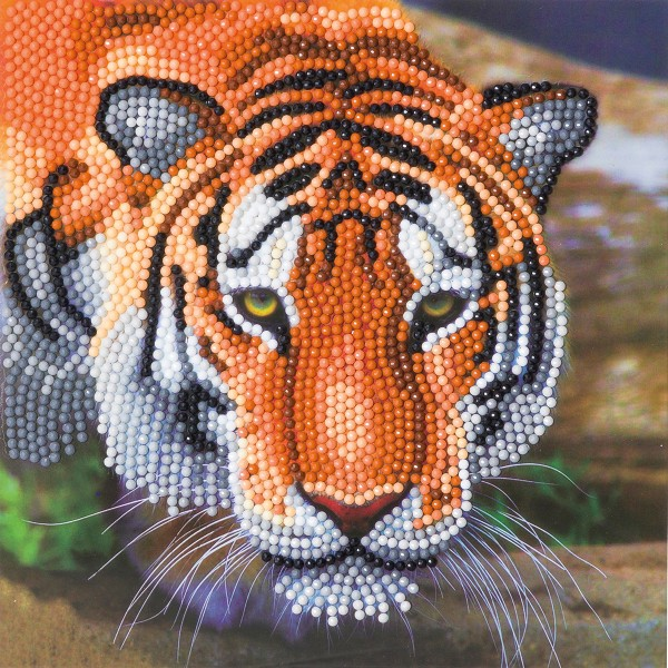 Kit Crystal Art - Carte broderie diamant - Tigre - 18 x 18 cm - Photo n°1