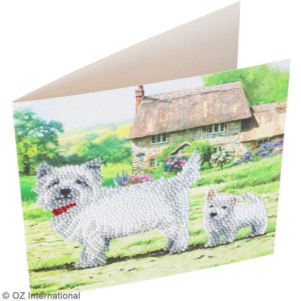 Kit Crystal Art - Carte broderie diamant - Chiens westies - 18 x 18 cm - Photo n°2