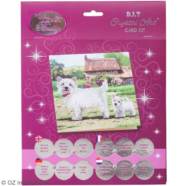 Kit Crystal Art - Carte broderie diamant - Chiens westies - 18 x 18 cm - Photo n°4