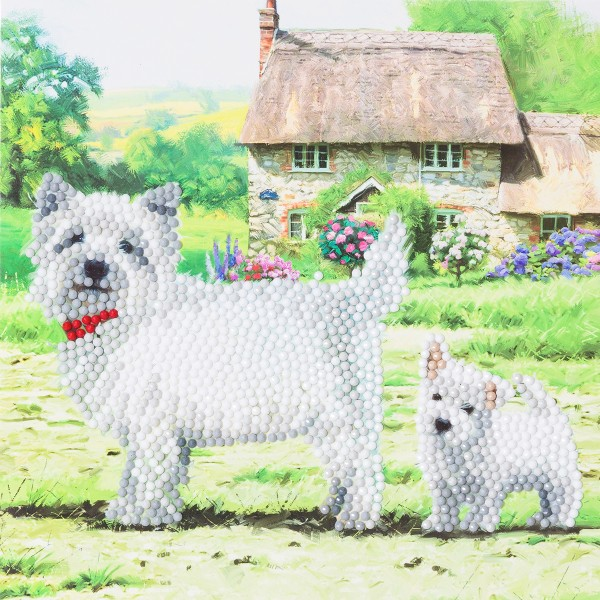 Kit Crystal Art - Carte broderie diamant - Chiens westies - 18 x 18 cm - Photo n°1