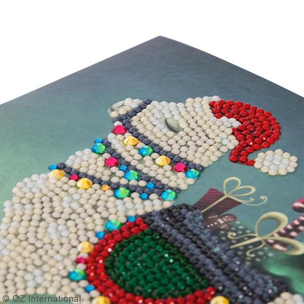 Kit Crystal Art - Carte broderie diamant - Lama Noël - 18 x 18 cm - Photo n°3