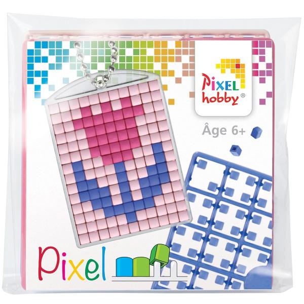 Kit créatif Pixel - porte-clés 4 x 3 cm - Fleur - Photo n°1