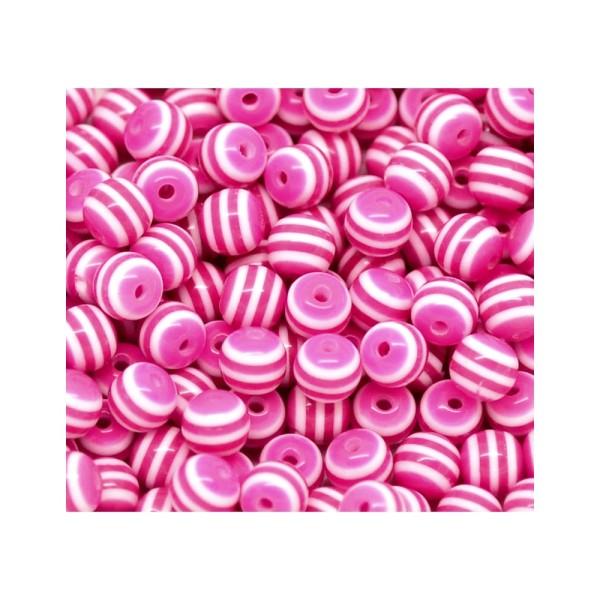 20 Perles en Resin Rayé 8mm Fuchsia et Blanc, Perle Rayée - Photo n°3