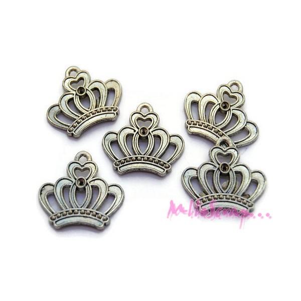 Breloques couronnes métal argenté - 5 pièces - Photo n°1
