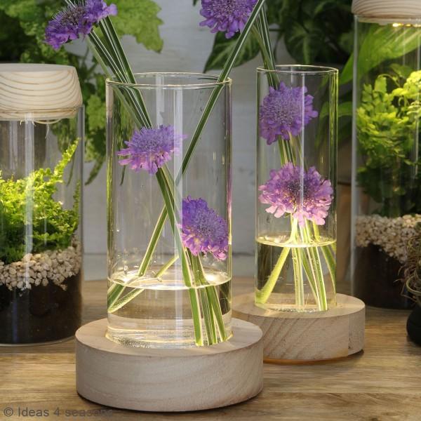 Vase avec base en bois lumineuse - 8,5 x 17 cm - Photo n°4