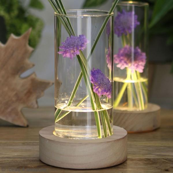 Vase avec base en bois lumineuse - 8,5 x 17 cm - Photo n°5