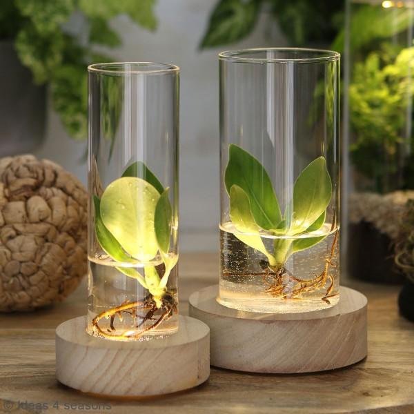 Vase avec base en bois lumineuse - 8,5 x 17 cm - Photo n°6
