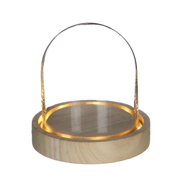 Cloche en verre avec socle lumineux - 10 x 10,5 cm - Photo n°1