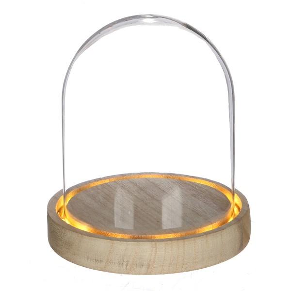 Cloche en verre avec socle lumineux - 12 x 13,5 cm - Photo n°1