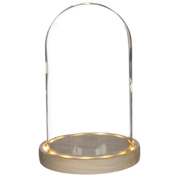 Cloche en verre avec socle lumineux - 21,5 x 14 cm - Photo n°1