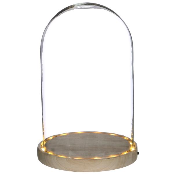 Cloche en verre avec socle lumineux - 17 x 25,5 cm - Photo n°1
