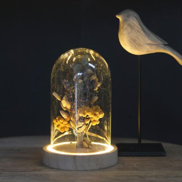 Cloche en verre avec socle lumineux - 10 x 15,5 cm - Photo n°2