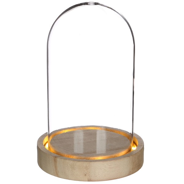 Cloche en verre avec socle lumineux - 10 x 15,5 cm - Photo n°1