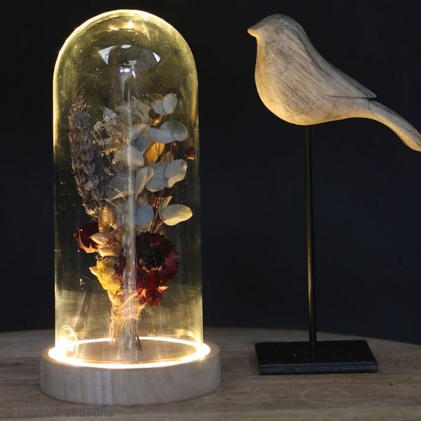 Cloche en verre avec socle lumineux - 10 x 20,5 cm - Photo n°2