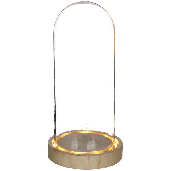 Cloche en verre avec socle lumineux - 10 x 20,5 cm - Photo n°1