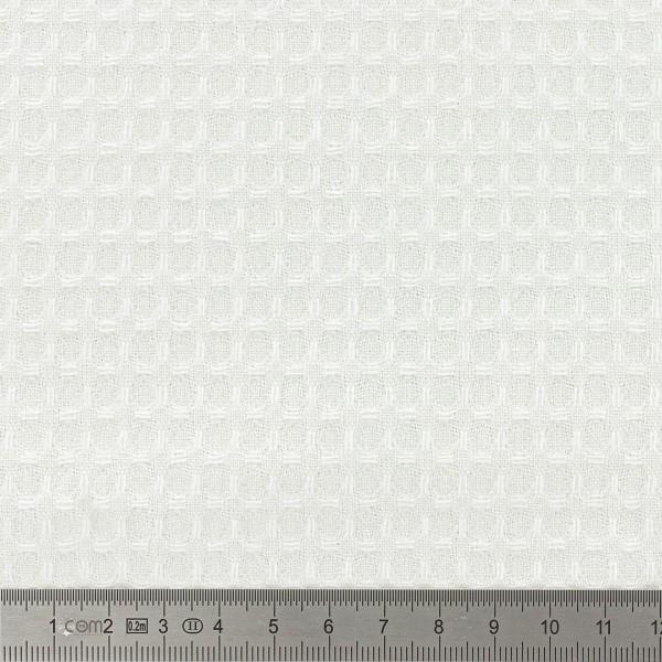 Tissu éponge en nid d'abeille - Blanc - Par 10 cm (sur mesure) - Photo n°2