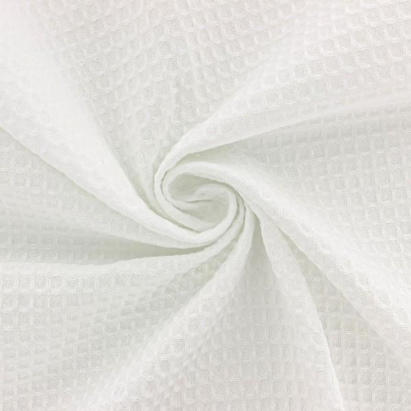 Tissu éponge en nid d'abeille - Blanc - Par 10 cm (sur mesure) - Photo n°3