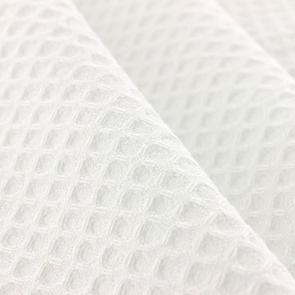 Tissu éponge en nid d'abeille - Blanc - Par 10 cm (sur mesure) - Photo n°4