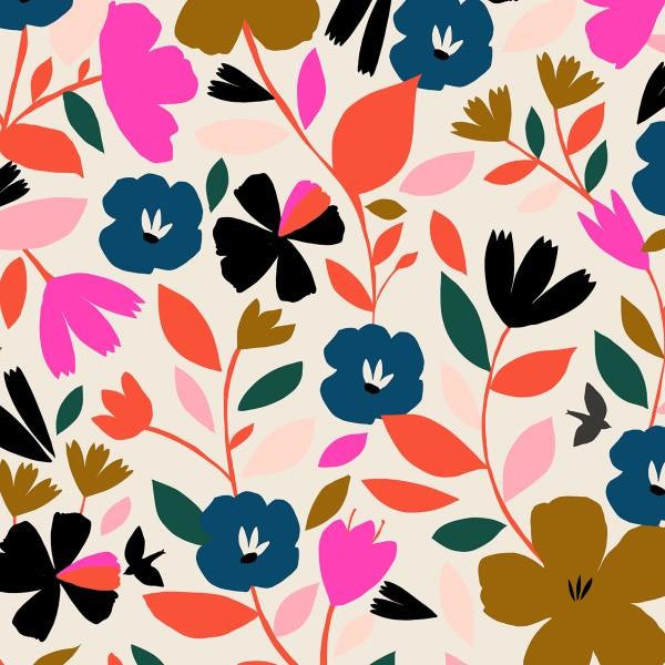 Tissu Rayonne Dashwood Soirée - Fleurs vintage - Fond blanc - Par 10 cm - Photo n°1