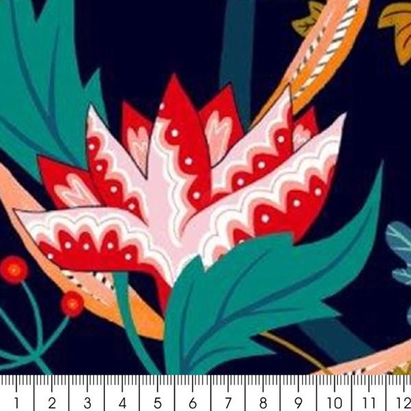 Tissu Rayonne Dashwood Gardenia - Jardin Tropical - Fond bleu - Par 10 cm - Photo n°2