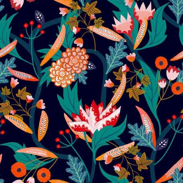 Tissu Rayonne Dashwood Gardenia - Jardin Tropical - Fond bleu - Par 10 cm - Photo n°1