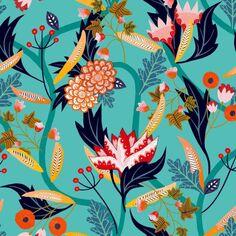 Tissu Rayonne Dashwood Gardenia - Jardin tropical - Fond Turquoise - Par 10 cm