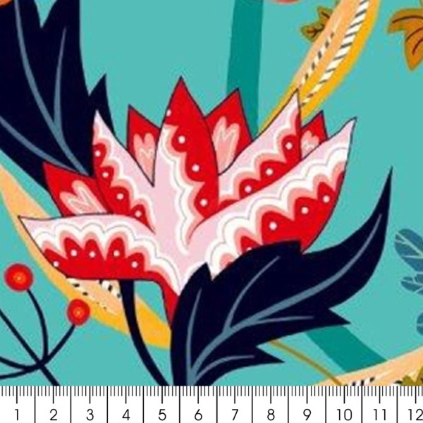 Tissu Rayonne Dashwood Gardenia - Jardin tropical - Fond Turquoise - Par 10 cm - Photo n°2