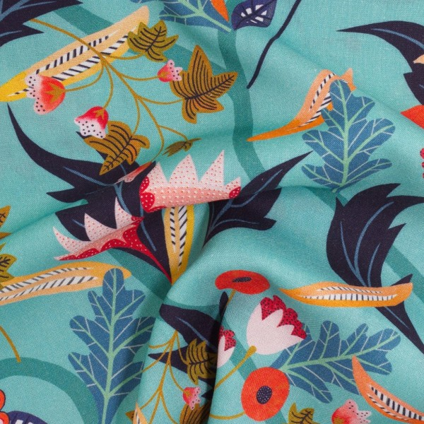 Tissu Rayonne Dashwood Gardenia - Jardin tropical - Fond Turquoise - Par 10 cm - Photo n°3