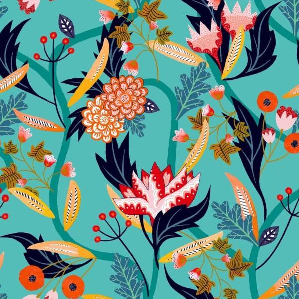 Tissu Rayonne Dashwood Gardenia - Jardin tropical - Fond Turquoise - Par 10 cm - Photo n°1