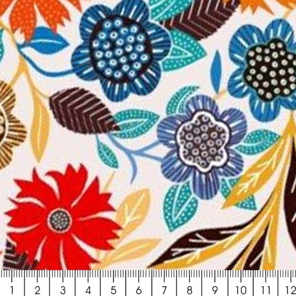 Tissu Rayonne Dashwood Gardenia - Fleurs colorées - Fond Blanc - Par 10 cm - Photo n°2