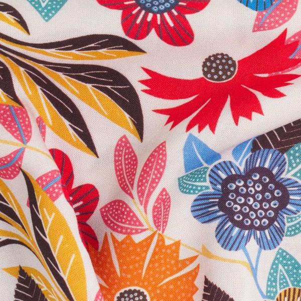 Tissu Rayonne Dashwood Gardenia - Fleurs colorées - Fond Blanc - Par 10 cm - Photo n°3