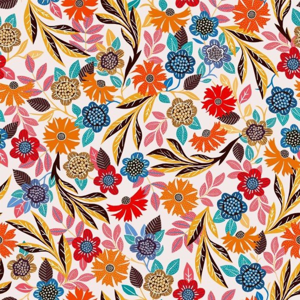 Tissu Rayonne Dashwood Gardenia - Fleurs colorées - Fond Blanc - Par 10 cm - Photo n°1