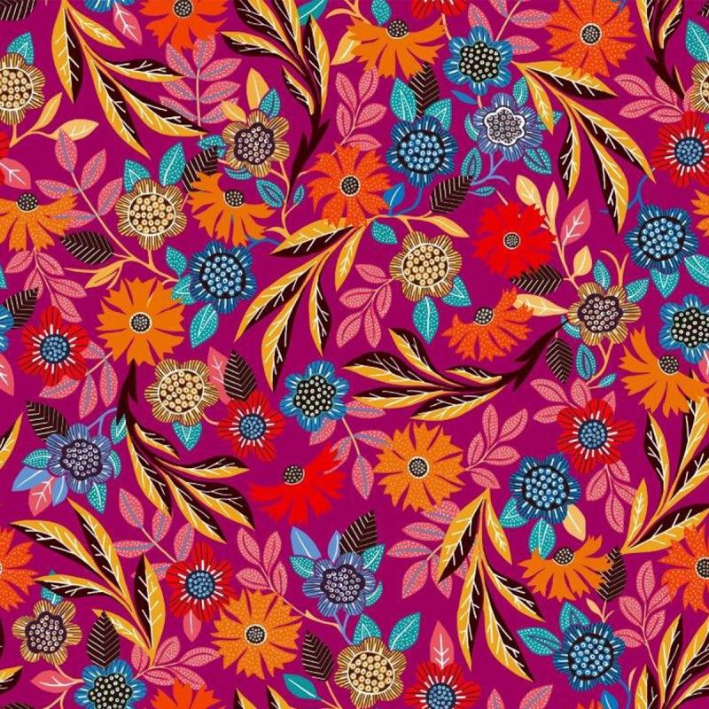 Tissu Rayonne Dashwood Gardenia - Fleurs colorées - Fond Rose Fuchsia - Par 10 cm - Photo n°1