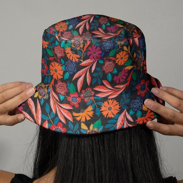Tissu Rayonne Dashwood Gardenia - Fleurs colorées - Fond noir - Par 10 cm - Photo n°2
