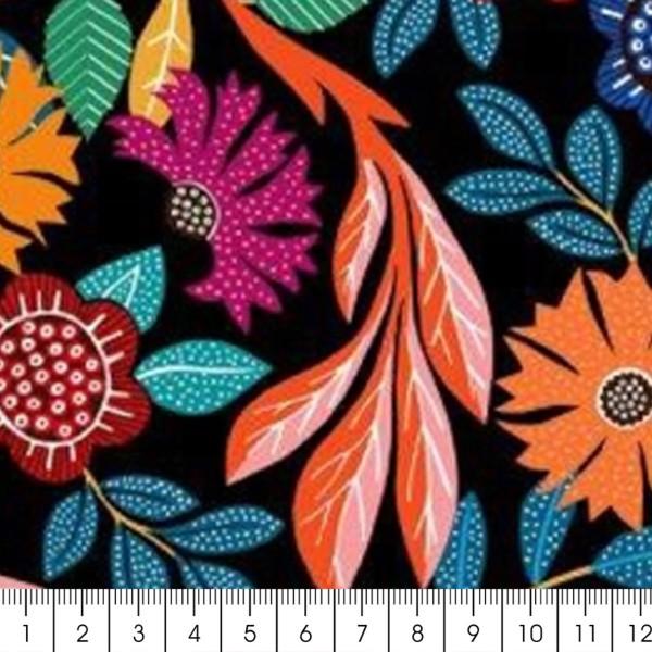 Tissu Rayonne Dashwood Gardenia - Fleurs colorées - Fond noir - Par 10 cm - Photo n°3