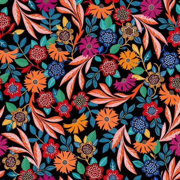 Tissu Rayonne Dashwood Gardenia - Fleurs colorées - Fond noir - Par 10 cm - Photo n°1