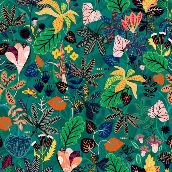 Tissu Rayonne Dashwood Gardenia - Jungle Tropical - Fond Vert  - Par 10 cm - Photo n°1