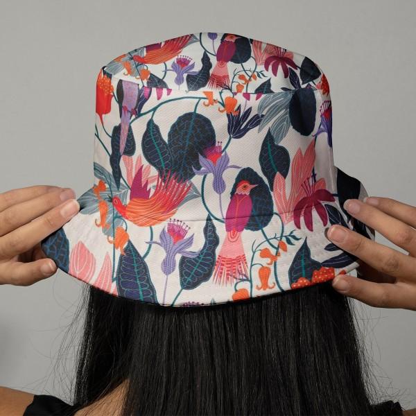 Tissu Rayonne Dashwood Gardenia - Jungle et Oiseaux - Fond blanc - Par 10 cm - Photo n°2