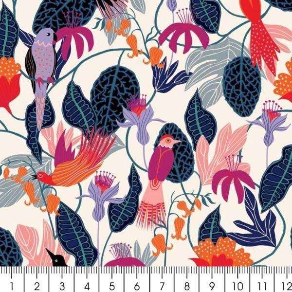 Tissu Rayonne Dashwood Gardenia - Jungle et Oiseaux - Fond blanc - Par 10 cm - Photo n°3