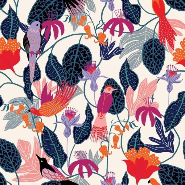 Tissu Rayonne Dashwood Gardenia - Jungle et Oiseaux - Fond blanc - Par 10 cm - Photo n°1