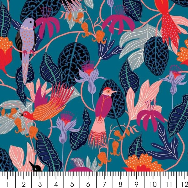 Tissu Rayonne Dashwood Gardenia - Jungle et Oiseaux - Fond bleu pétrole - Par 10 cm - Photo n°2
