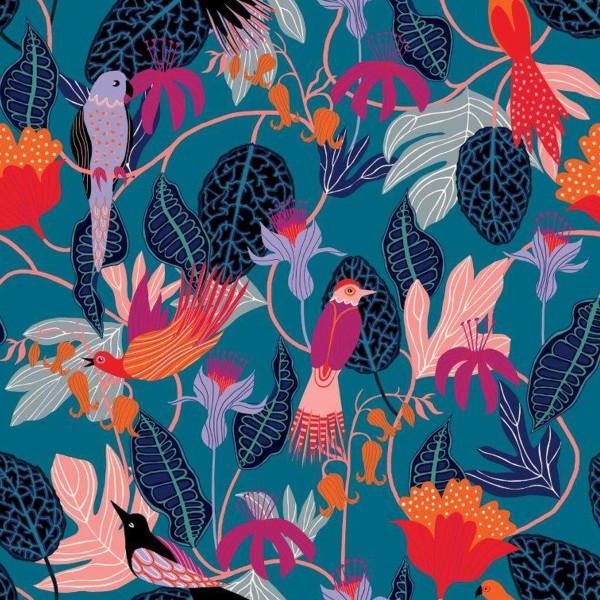 Tissu Rayonne Dashwood Gardenia - Jungle et Oiseaux - Fond bleu pétrole - Par 10 cm - Photo n°1