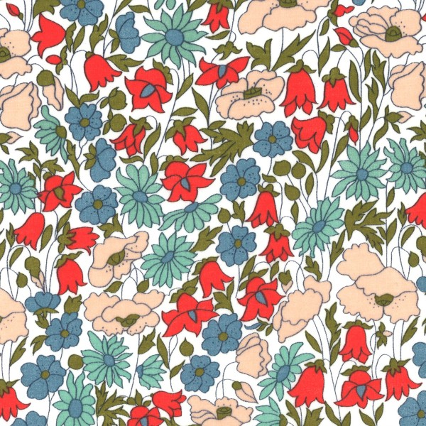 Tissu coton léger - Liberty Poppy and Daisy - Par 10 cm - Photo n°1