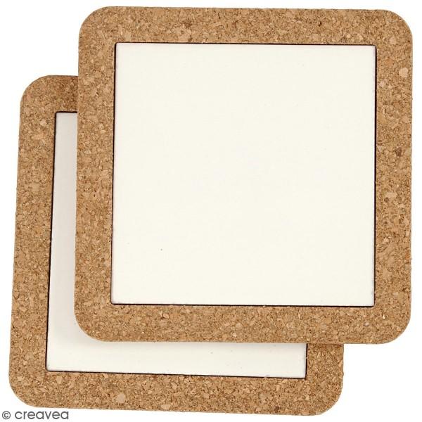 Dessous de plat en liège et en céramique - 15 x 15 cm - 2 pcs - Photo n°4