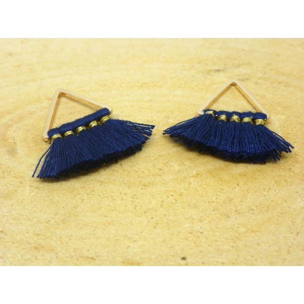 2 Breloques pompons triangle 22*15mm - bleu marine et doré - Photo n°1