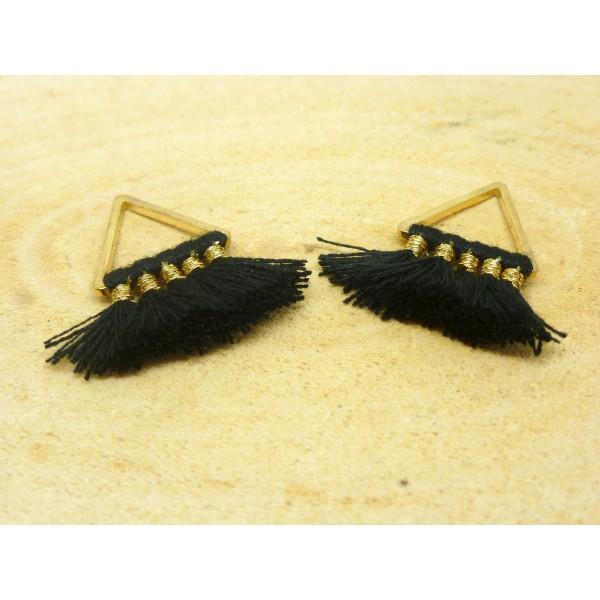 2 Breloques pompons triangle 22*15mm - noir et doré - Photo n°1